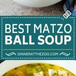 This matzo ball soup is chicken and vegetables simmered with matzo balls in a savory broth.