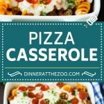 This pizza casserole is pasta simmered in tomato sauce with pepperoni, sausage, olives and bell peppers.