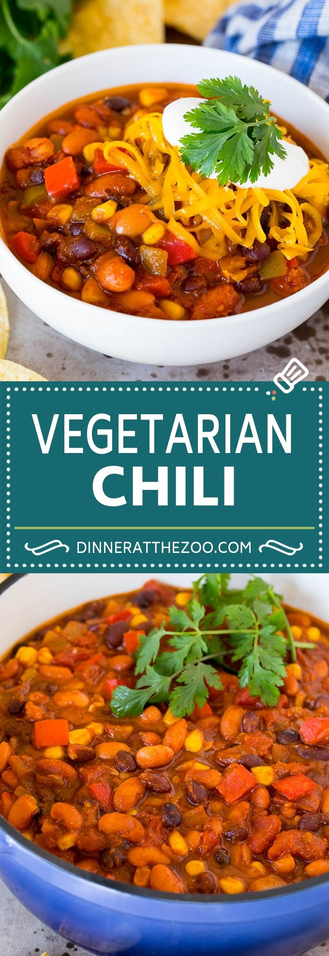 This vegetarian chili is a blend of colorful vegetables, two types of beans and tomatoes.