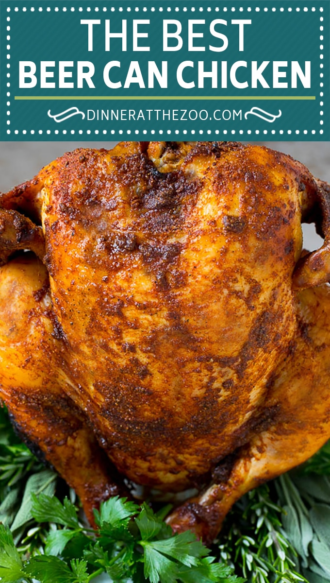 This beer can chicken is a whole chicken that is coated in homemade BBQ spice rub, then placed on top of a beer can and grilled to smoky and tender perfection.