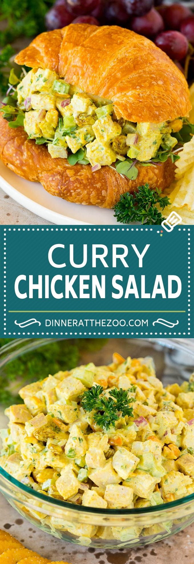 This curry chicken salad is a blend of  diced chicken, fresh veggies, dried fruit and nuts, all tossed together in a creamy spiced dressing.