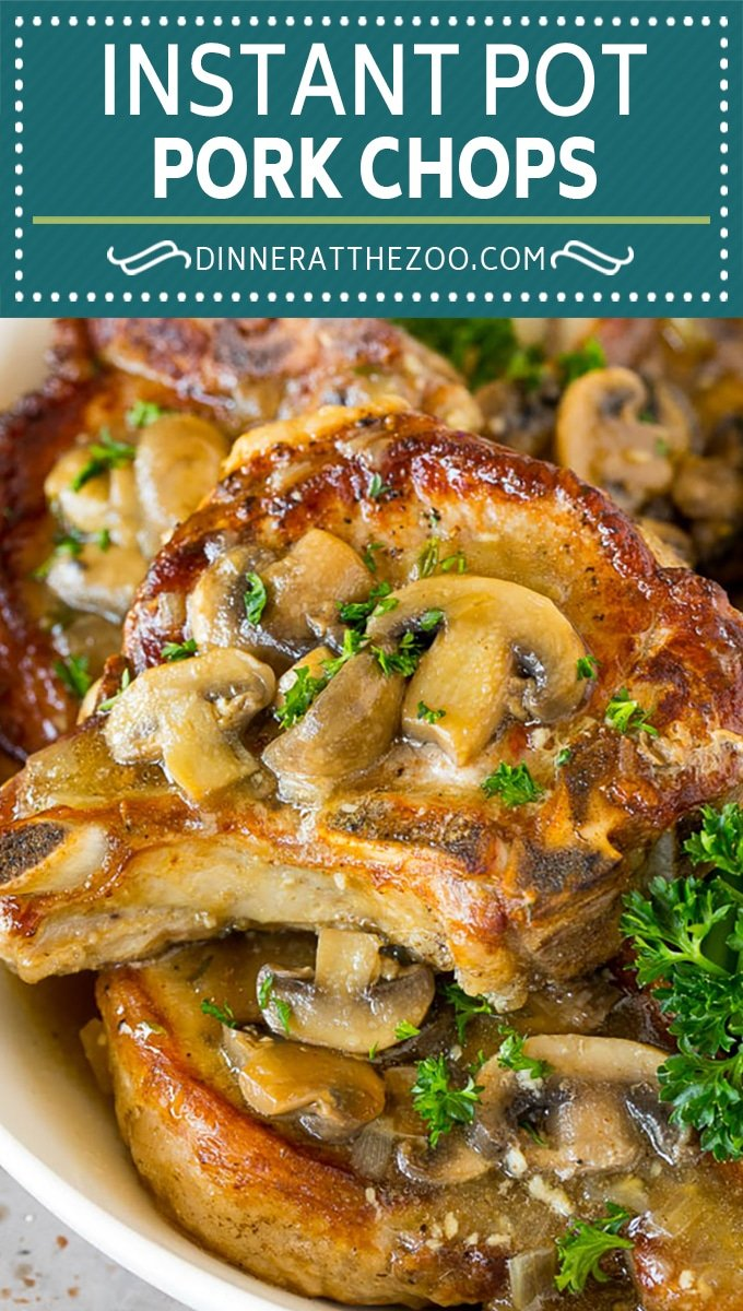 These Instant Pot pork chops are seared to golden brown perfection, then pressure cooked and covered in mushroom gravy.