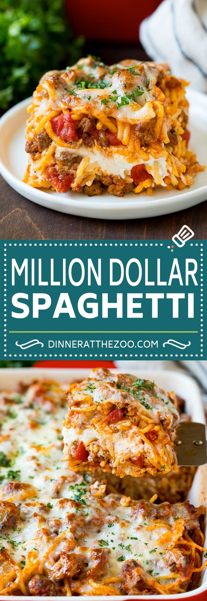 This million dollar spaghetti is tender pasta tossed in a hearty meat sauce, then layered with four types of cheese and baked to golden brown perfection.