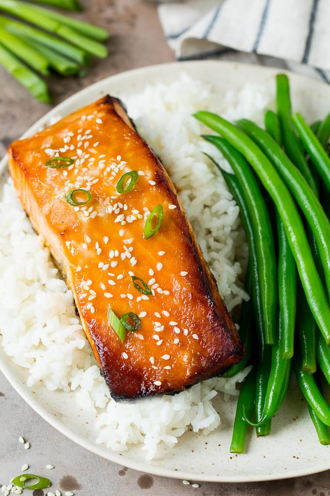 Miso salmon served with rice and green beans.