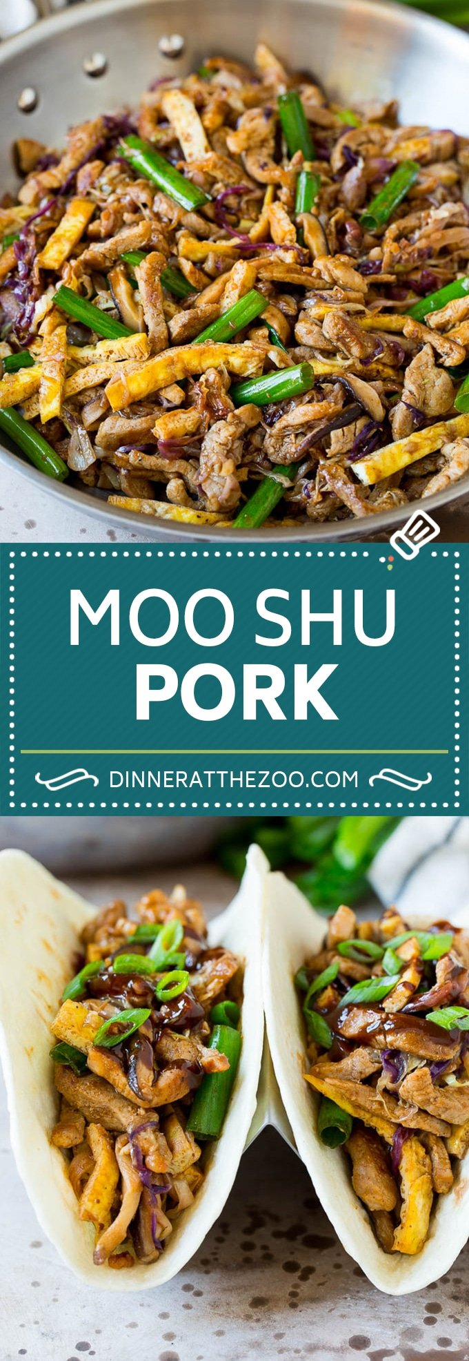 This moo shu pork is thinly sliced pork tenderloin stir fried with vegetables and egg, all in a savory sauce.