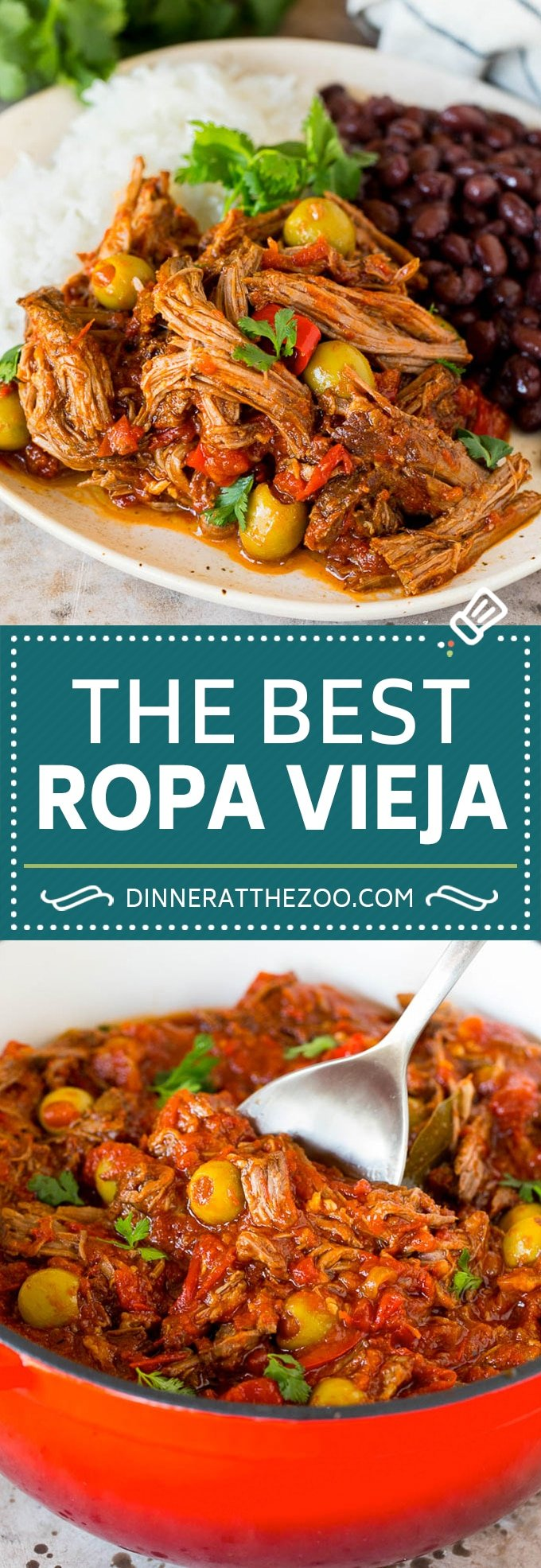 This ropa vieja recipe is a traditional dish of beef roast that's simmered with tomatoes and seasonings until tender, then shredded and served with olives.