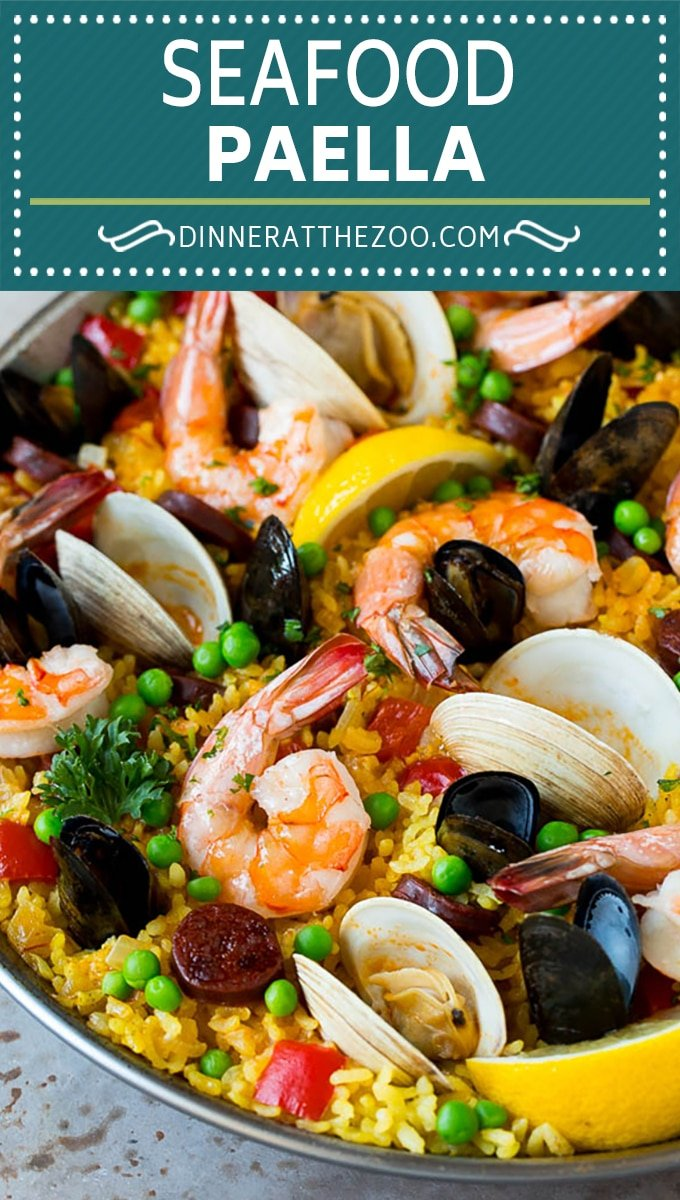 This seafood paella is a blend of saffron rice, Spanish chorizo, shrimp, clams and mussels, all simmered together.
