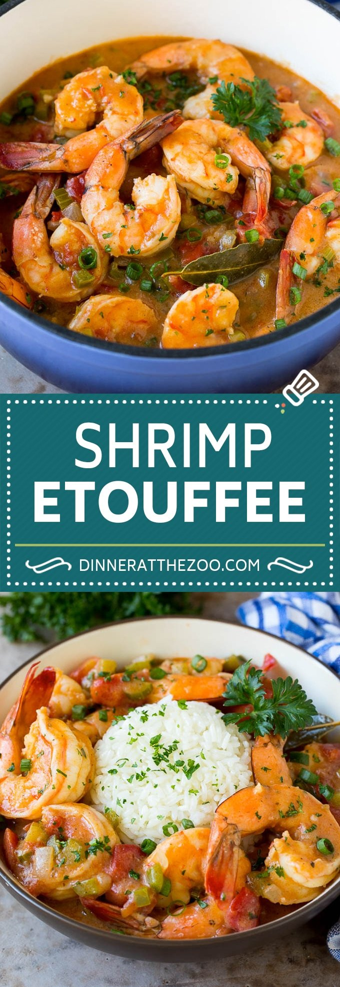 This shrimp etouffee is tender and succulent shrimp stewed with tomatoes, vegetables and seasonings.