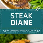 This Steak Diane recipe is beef tenderloin medallions that are seared and coated in a savory mushroom sauce.