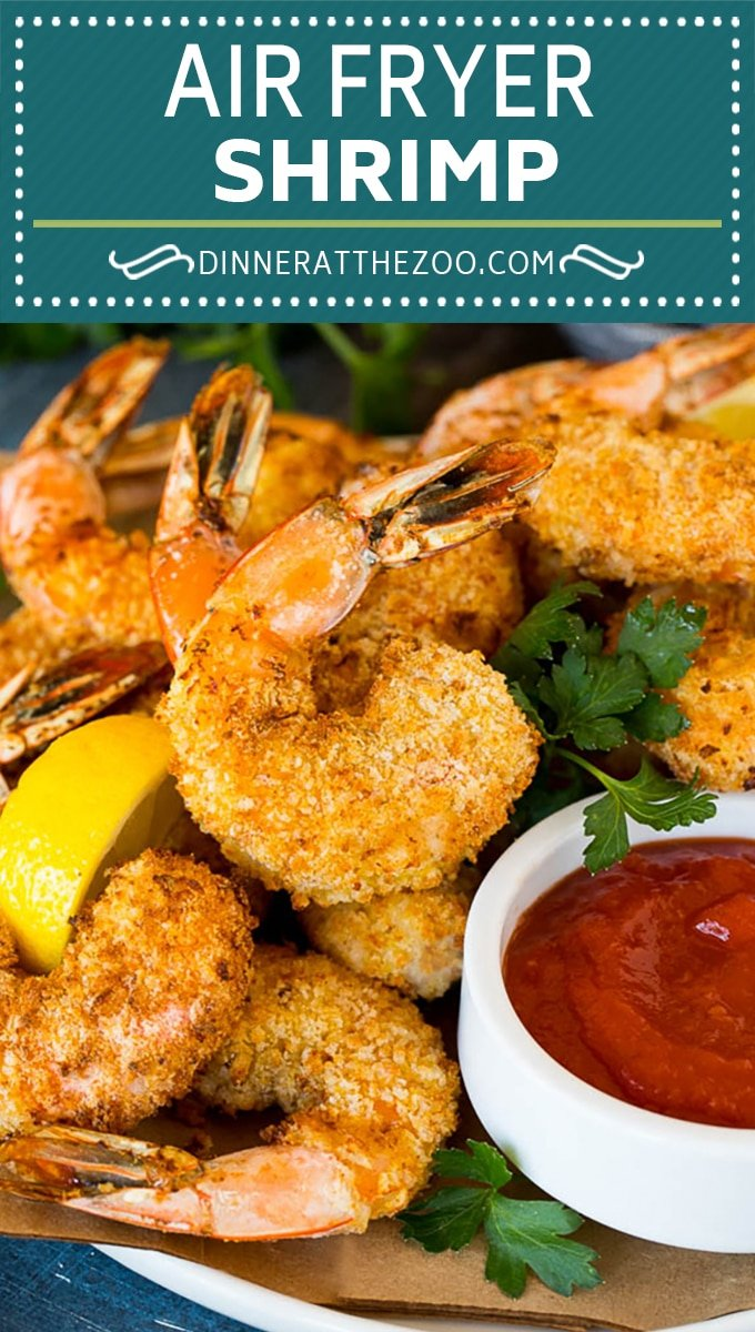 This air fryer shrimp recipe is jumbo shrimp coated in seasonings and two types of breadcrumbs, then air fried to crispy perfection.
