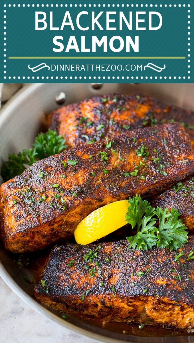 This blackened salmon is fresh salmon fillets coated in butter and a homemade seasoning blend, then seared to create a dark crust.