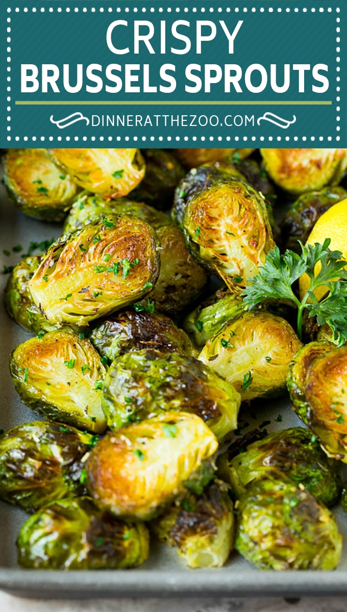 These crispy Brussels sprouts are coated in olive oil, garlic and seasonings, then roasted at high heat until tender and golden brown.