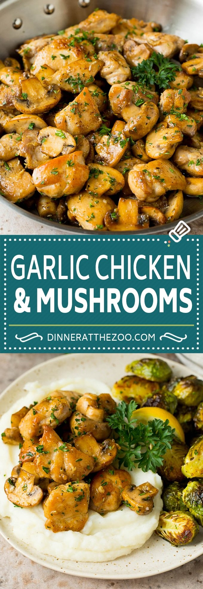 This garlic butter chicken recipe features seared chicken and sauteed mushrooms, all in a flavorful butter, garlic and herb sauce.