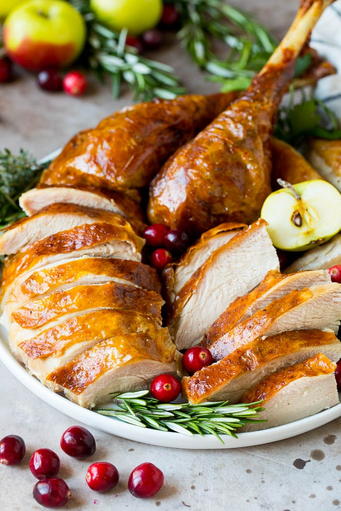 Sliced turkey on a serving plate.