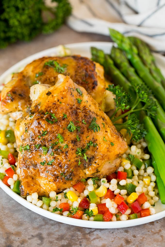 Instant Pot chicken thighs over couscous.