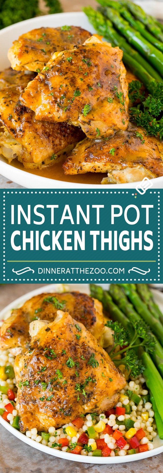 These Instant Pot chicken thighs are coated with herbs and spices, then seared and pressure cooked to tender perfection.