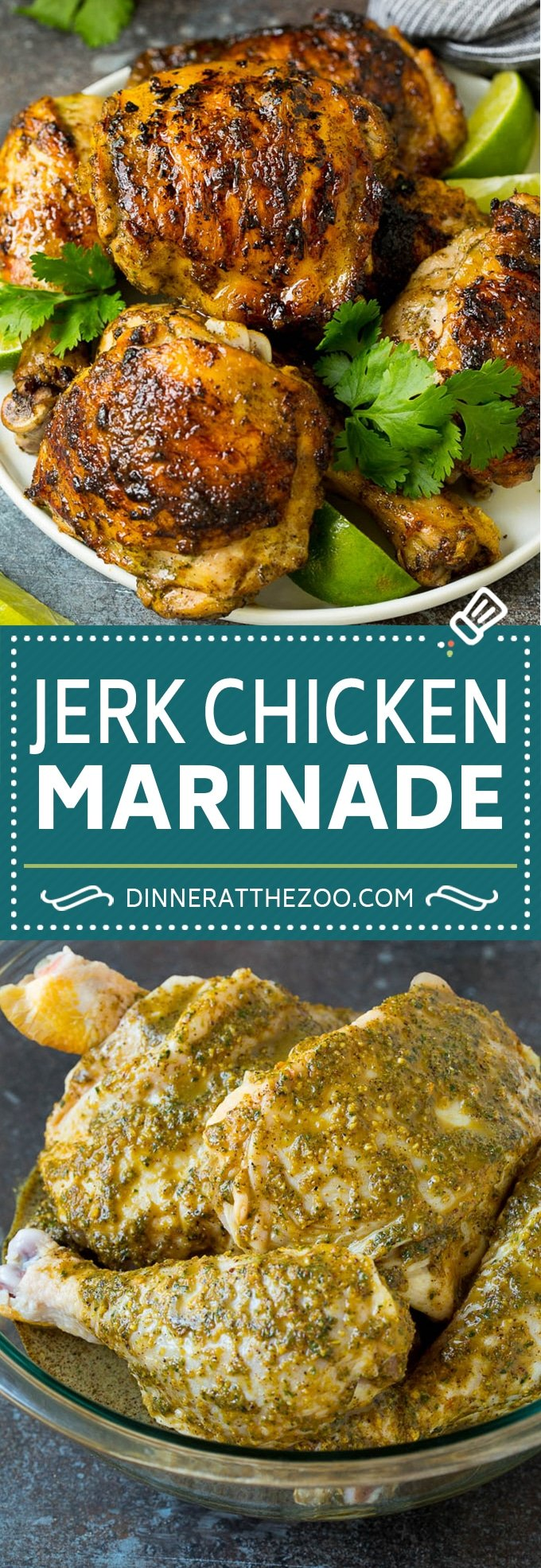 This jerk chicken marinade is a combination of olive oil, lime juice, fresh herbs, hot peppers and plenty of spices.