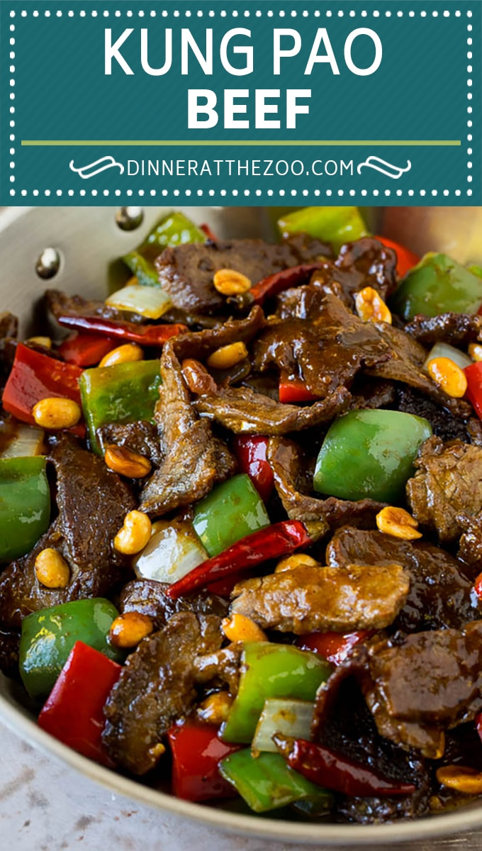 This kung pao beef is a combination of thinly sliced steak, bell peppers, onions and roasted peanuts, all in a savory and spicy sauce.