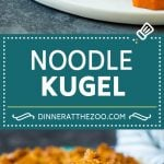 This noodle kugel is egg noodles that are baked in a sweet custard mixture, then finished off with a cinnamon sugar cornflake topping.