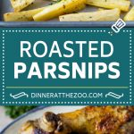 These roasted parsnips are coated in garlic, olive oil and herbs, then cooked in the oven until golden brown.