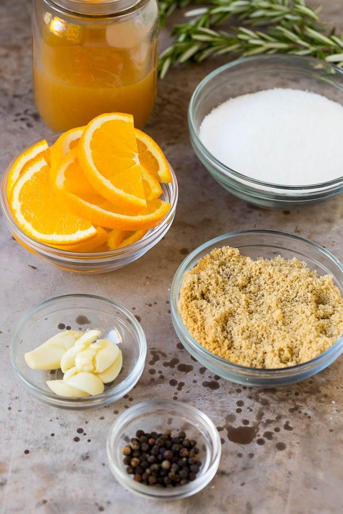 Bowls of ingredients to make a turkey brine.
