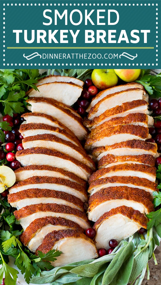 This smoked turkey breast is soaked in brine, then coated in homemade spice rub and cooked on a smoker until it is tender and juicy.