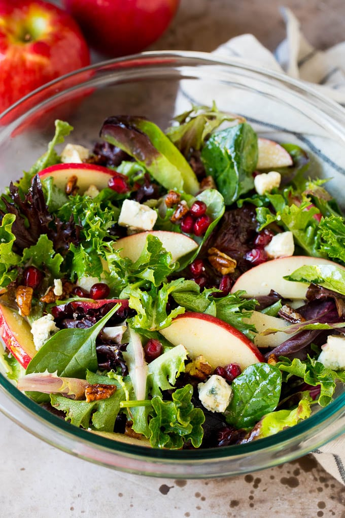 Thankgiving salad with mixed greens, apples, blue cheese and pecans.