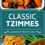This tzimmes recipe is a colorful stew made with sweet potatoes, carrots and dried fruit.