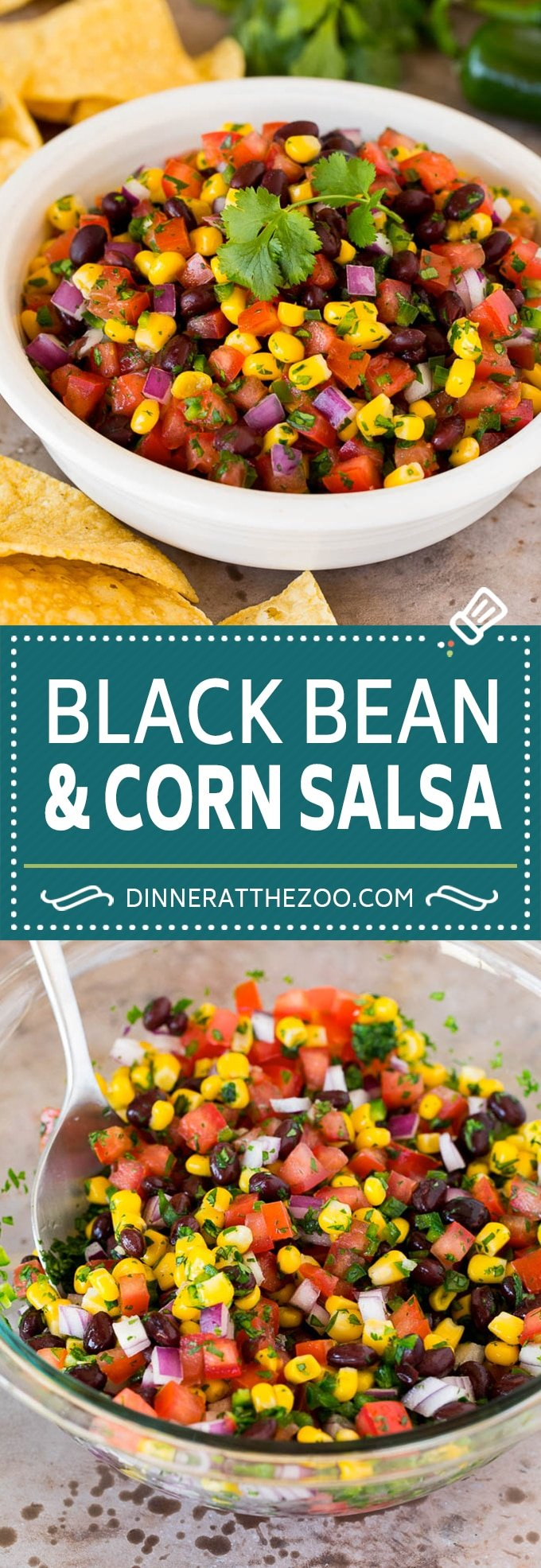 This black bean and corn salsa is a blend of fresh tomatoes, cilantro, jalapeno, corn kernels and beans, all mixed together to make a zesty and flavorful dip.