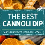 This cannoli dip is a blend of two types of sweet Italian cheeses, sugar and chocolate chips, all blended together to make a creamy dip that tastes just like the inside of a cannoli.