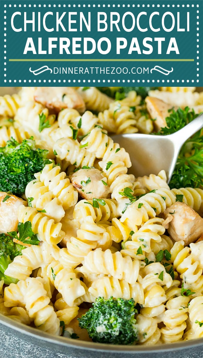 This chicken broccoli Alfredo pasta is sauteed chicken breast pieces and fresh broccoli, all tossed in a homemade creamy sauce.