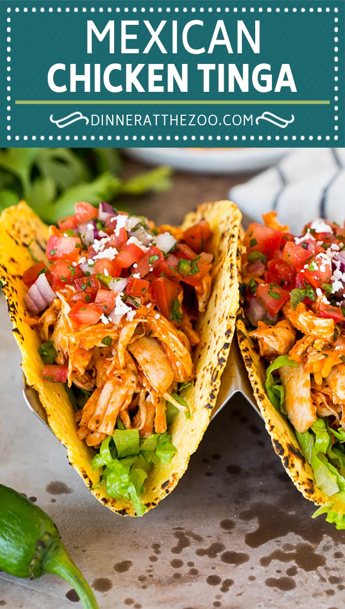 This chicken tinga is a classic dish made with shredded chicken that's simmered in a smoky and savory sauce.
