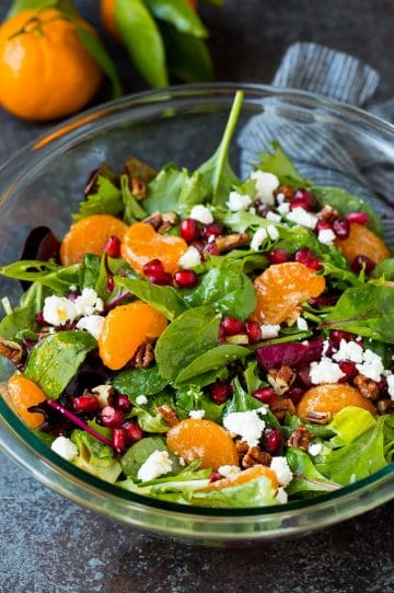 Christmas salad with oranges, pomegranate and candied pecans.