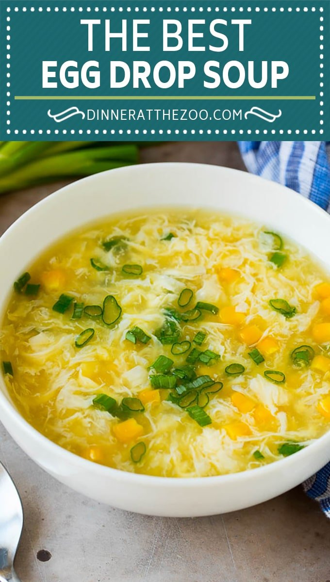 This easy egg drop soup is a simple dish made with beaten eggs, green onions, ginger and corn, all in a complex and savory broth.