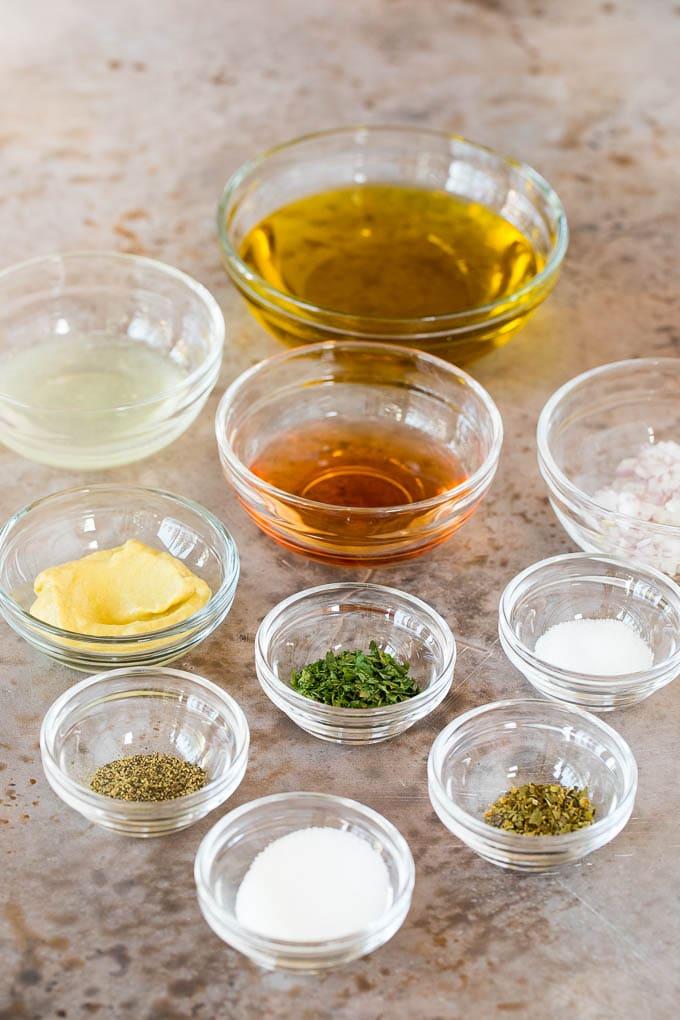 Bowls of ingredients to make salad dressing and marinade.