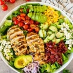 Grilled chicken salad with bacon, veggies and blue cheese.