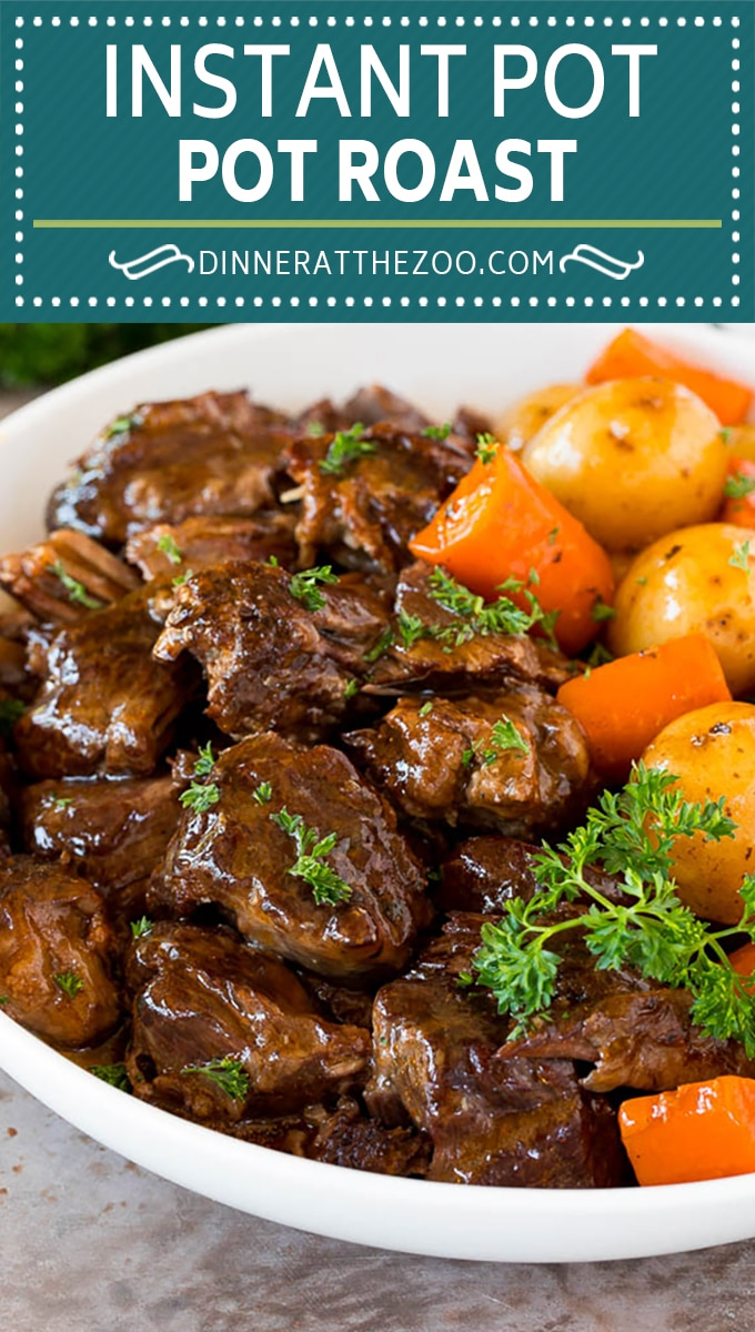 The best Instant Pot pot roast with beef, potatoes, carrots, herbs and spices, all cooked in the pressure cooker.