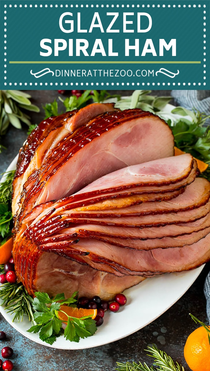 This spiral ham is coated in a homemade brown sugar glaze, then baked in the oven to tender and juicy perfection.