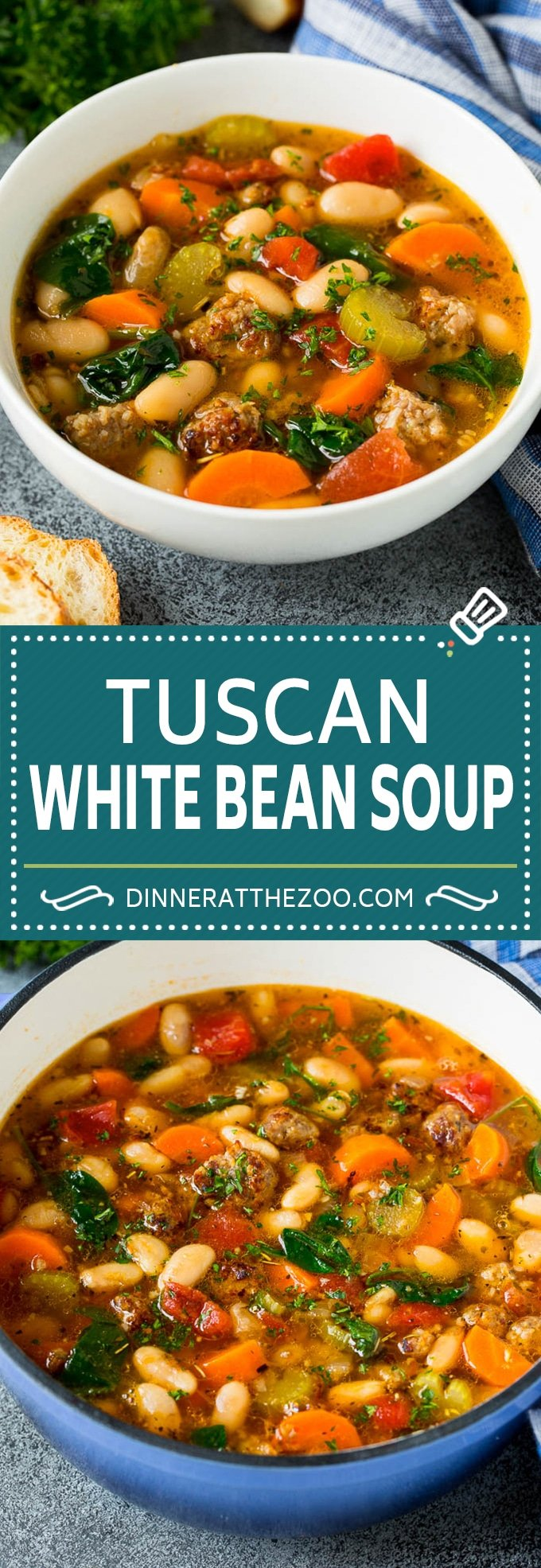 This Tuscan white bean soup is a hearty blend of Italian sausage, vegetables and beans, all simmered together in a savory tomato broth.