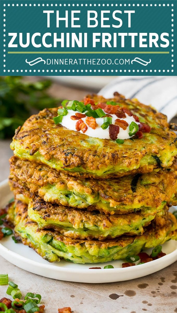These zucchini fritters are crispy patties filled with shredded squash and flavored with garlic and herbs.