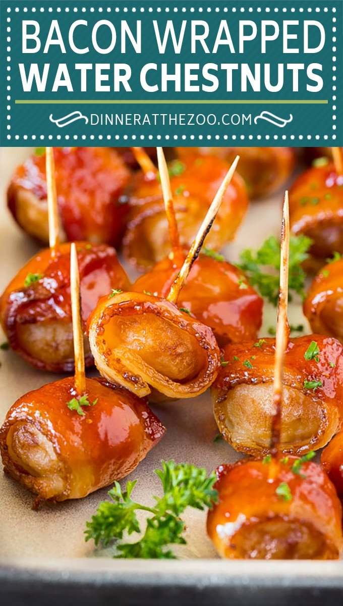 These bacon wrapped water chestnuts are crunchy marinated water chestnuts covered in bacon and a sweet and savory sauce, then baked to perfection.
