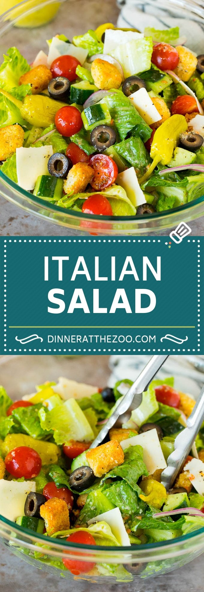 This Italian salad is a blend of fresh greens, cucumber, cherry tomatoes, olives, cheese and croutons, all tossed together in a homemade dressing.