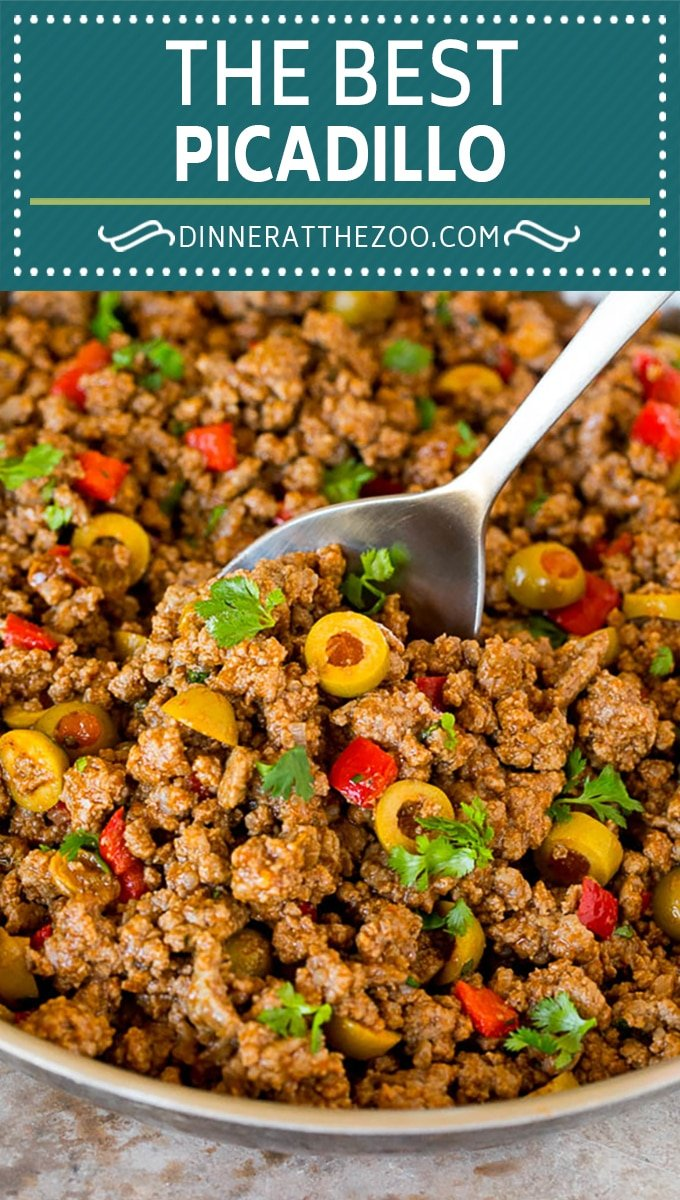 This picadillo is a blend of ground beef, olives and vegetables, all simmered together with spices and tomato sauce.