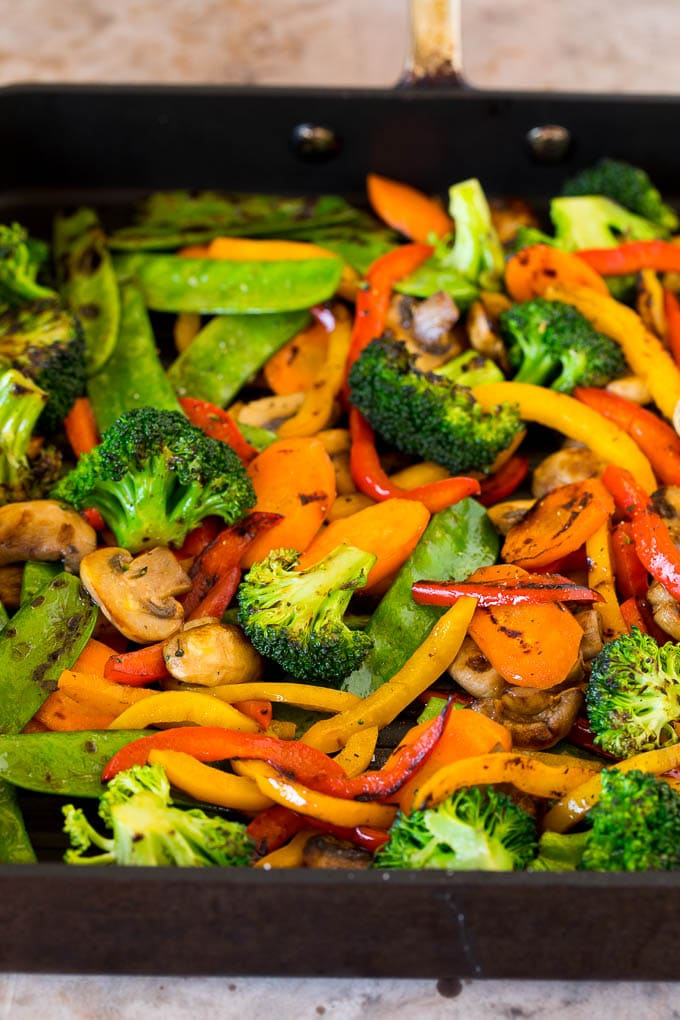 Cooked vegetables on a grill pan.