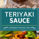 This homemade teriyaki sauce is a blend of soy sauce, brown sugar, garlic, ginger and sesame oil, all simmered together to make a sweet and savory condiment.