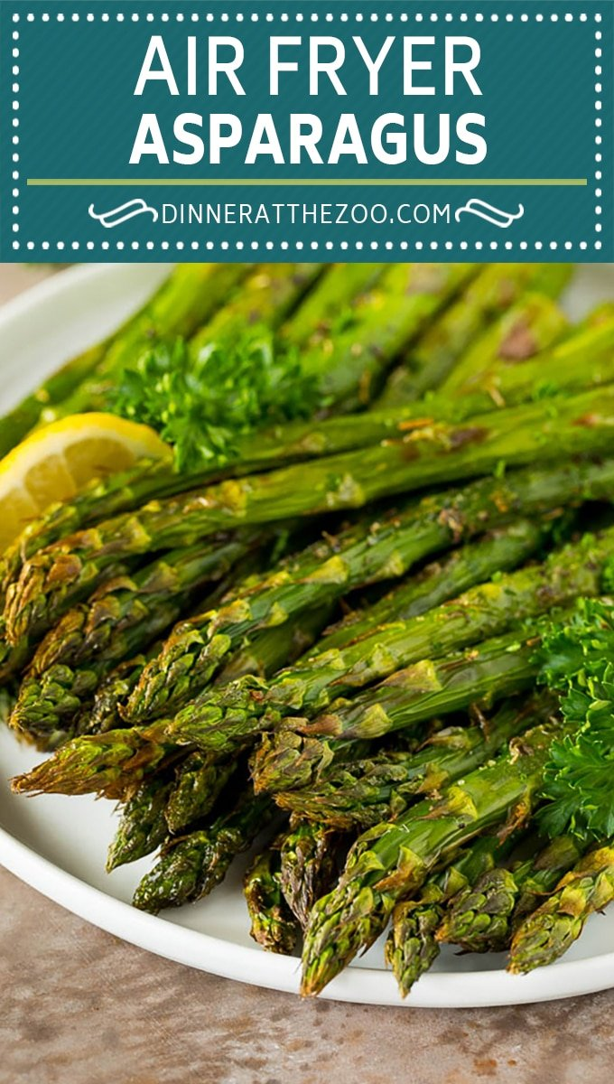 This air fryer asparagus is tender stalks of asparagus coated in olive oil, garlic and an assortment of herbs and seasonings.