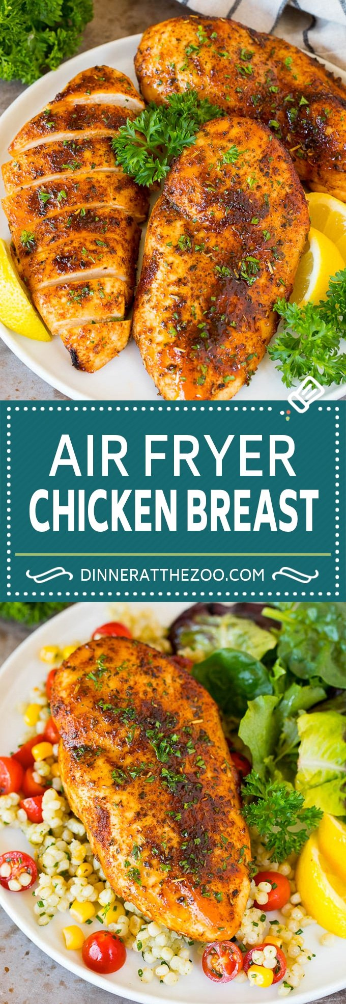 This air fryer chicken breast recipe consists of chicken coated in herbs and spices, then cooked to golden brown perfection.