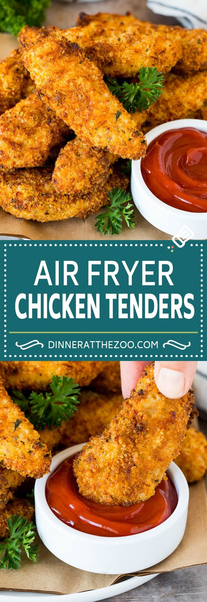These air fryer chicken tenders are fresh chicken tenderloins coated in breadcrumbs, spices and parmesan cheese, then air fried until golden brown.