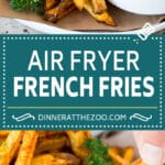 These air fryer french fries are potatoes cut into sticks and coated with oil and seasonings, then air fried to crispy brown perfection.