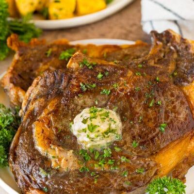 Air Fryer Steak with Garlic Butter